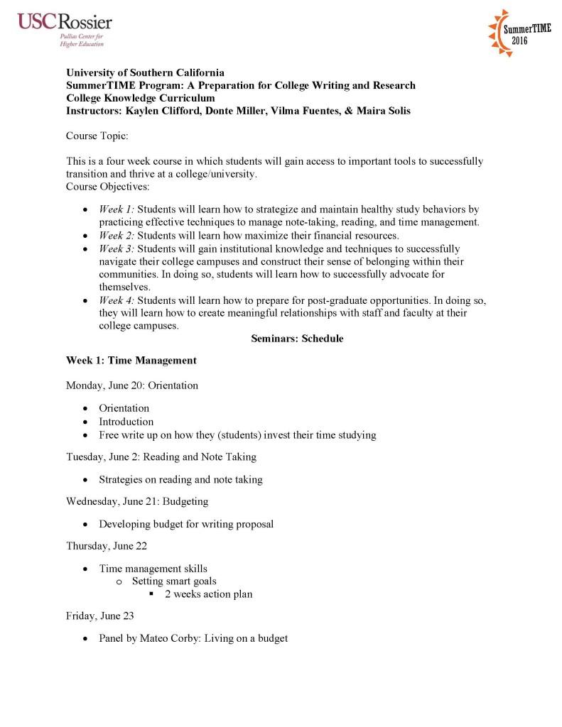 Kayne Scholar Curriculum